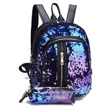 цена на New 2Pcs/Set New Teenage Bling Glitter Sequins Backpack Girls Rucksack Students School Bag with Pencil Case Clutch
