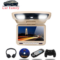 9 inch Car Monitor Roof Ceiling Mount Flip Down LED Digital Screen DVD Player IR FM Transmitter USB SD MP5 Speaker Game