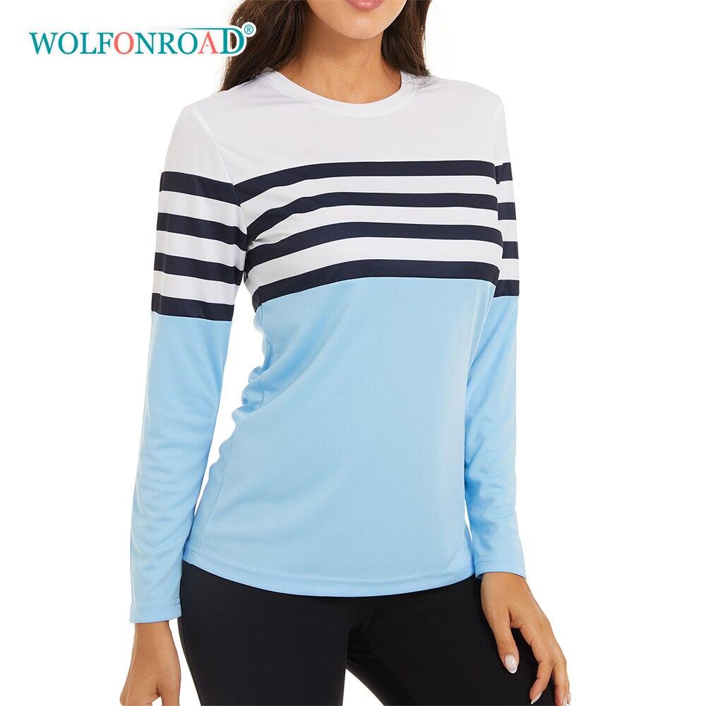WOLFONROAD UPF50 + Camisas UV Sun Bloco de Proteção Solar Das Mulheres Ao Ar Livre Esporte Tops Anti-UV de Manga Comprida Casual T-Shirts Blusas Meninas