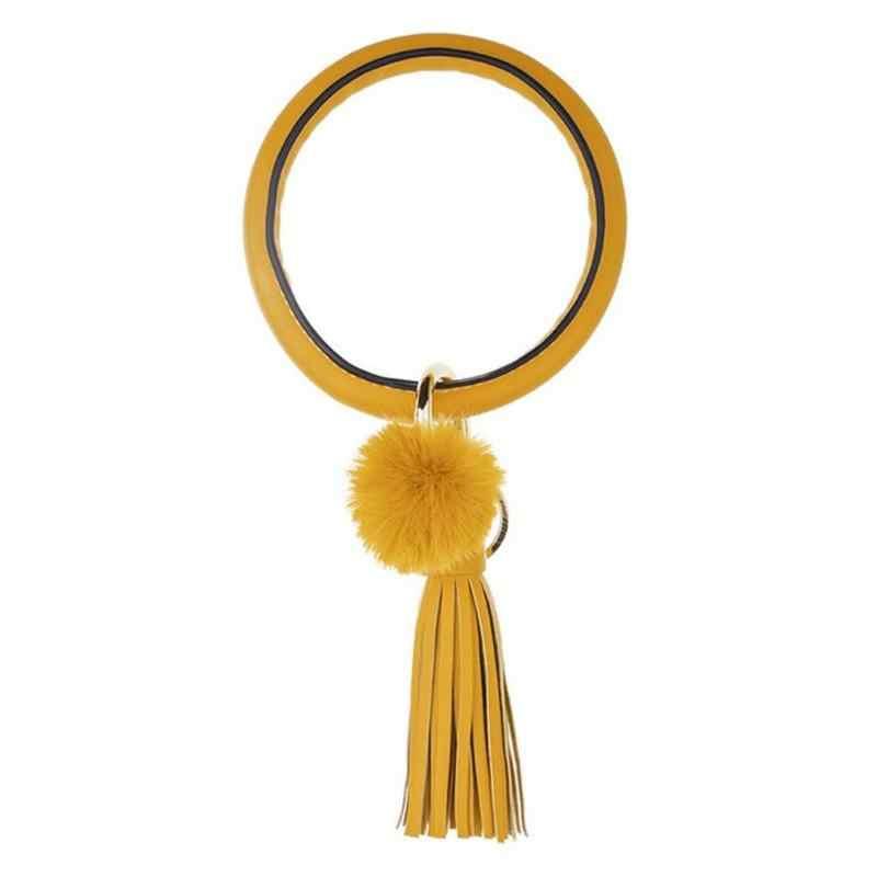 Anti-Lost Keychain สร้อยข้อมือหนังคลาสสิกด้วยตนเองวงกลมขนาดใหญ่ PURE สีรถพู่จี้สำหรับผู้หญิงผู้ชาย
