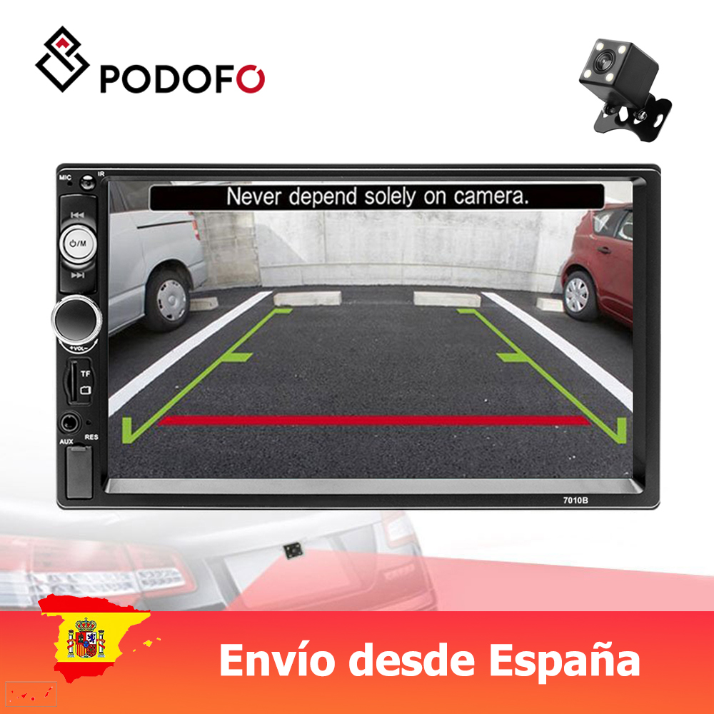 Podofo 2 din Car radio 7 Multimedia Player MP5 Touch Digital Display Bluetooth USB 2din Autoradio MP5 Stereo Backup Monitor image