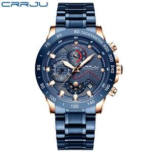 Image 2 - Mens שעון יוקרה למעלה מותג CRRJU שעון אופנה ספורט עמיד למים הכרונוגרף גברים של Satianless פלדת שעוני יד Relogio Masculino