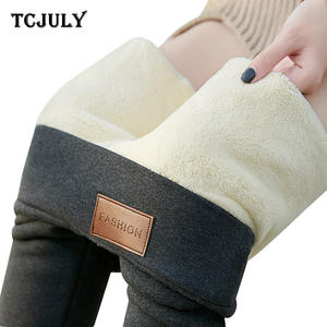 TCJULY Winter Thicken Warm Velvet Wool Fleece Leggings Women Lambskin Cashmere Slim Push Up Pants Plus Size 6XL Stretchy Leggins