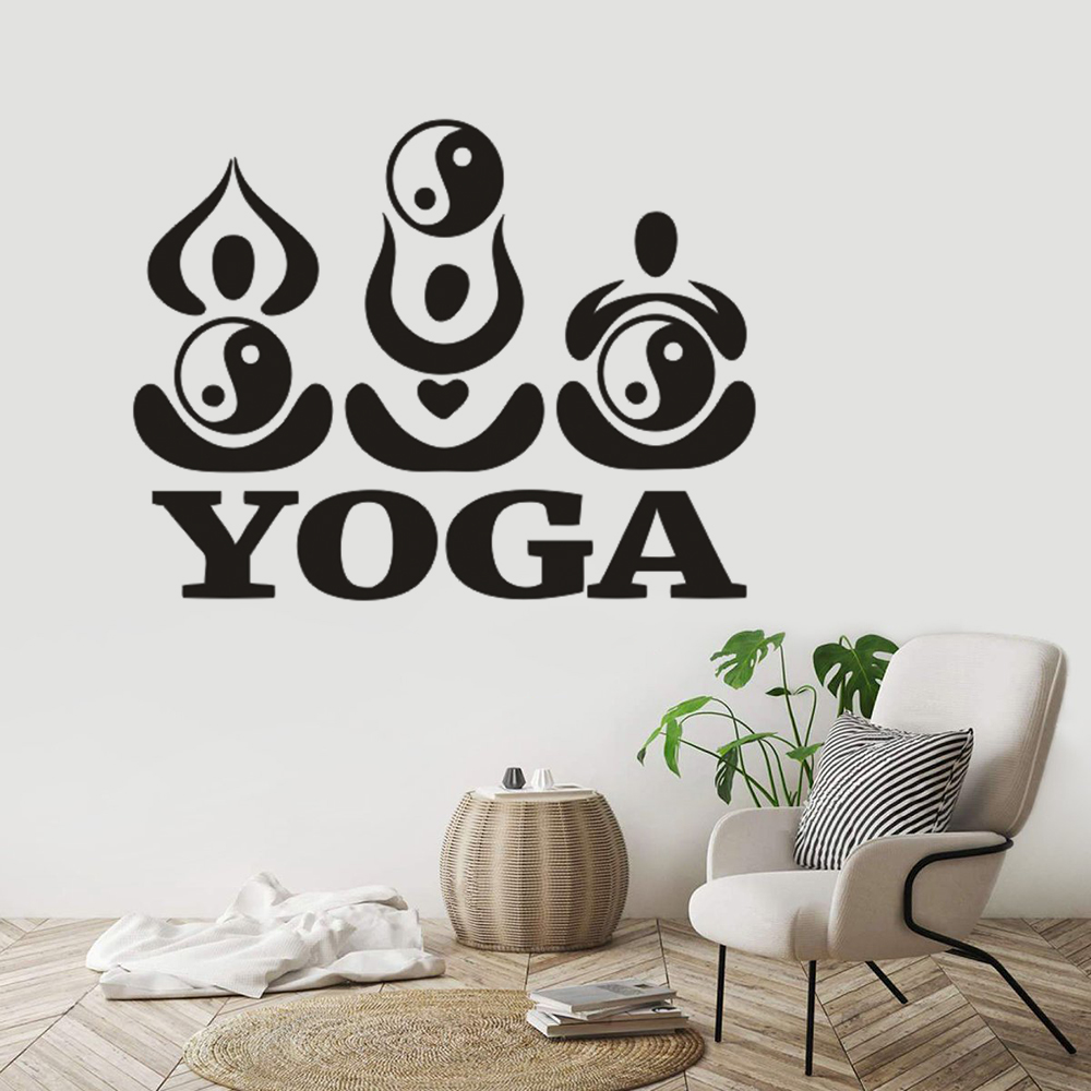 Abstract Yoga Pose Logo Wall Sticker Yin Yang Yoga Gym Decor Wall Decal Emovable Vinyl Home Yoga Wall Decoration Poster G746 Wall Stickers Aliexpress