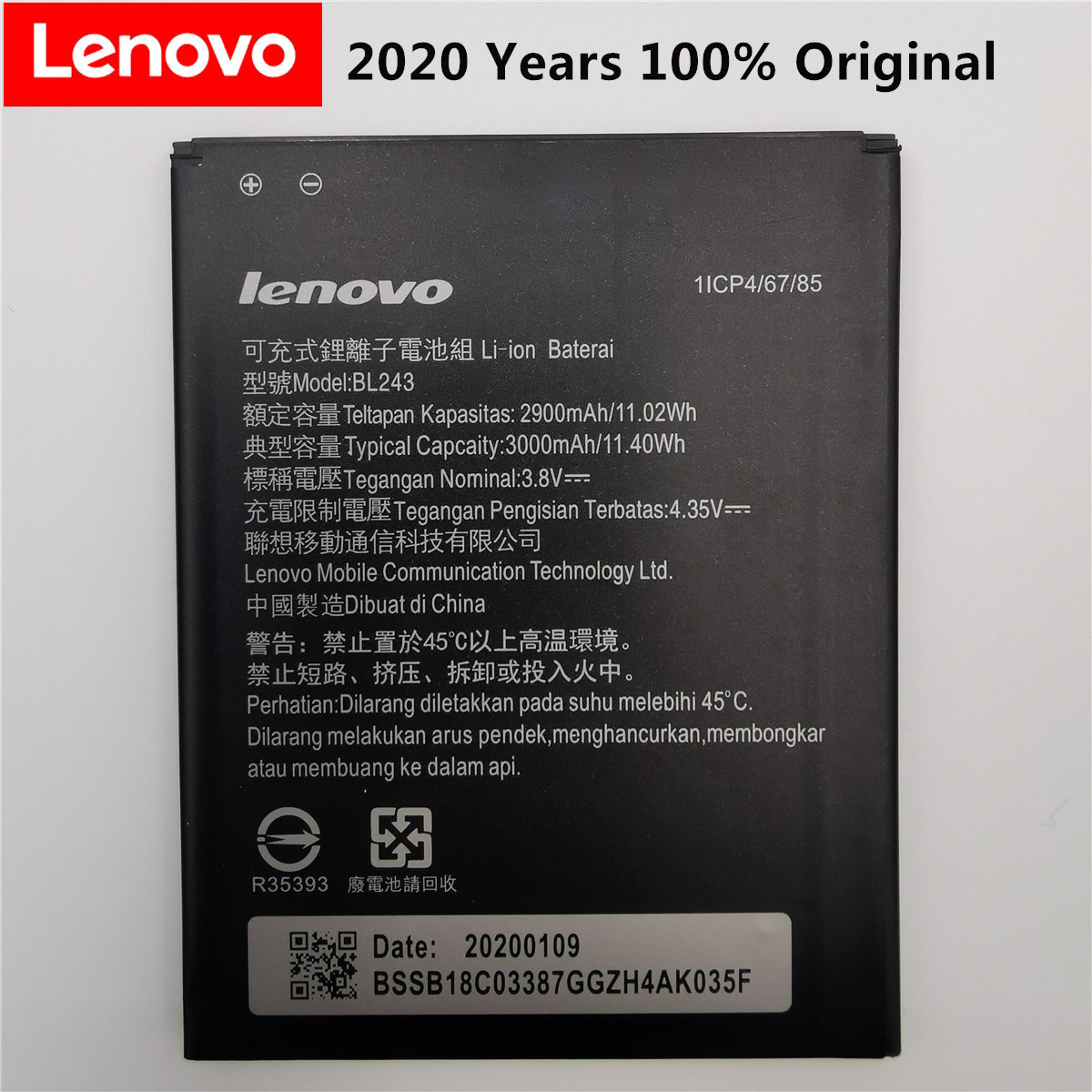 2020 New BL 243 BL243 Battery For Lenovo Lemon K3 Note K50-T5 A7000 A5500 A5600 A7600 2900mAh Mobile Phone Backup Bateria
