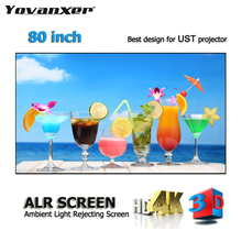 "ALR Ambient Light Rejecting Projection Screens 80"" Ultra thin border Frame Specialize for Optoma Xiaomi UST projectors"
