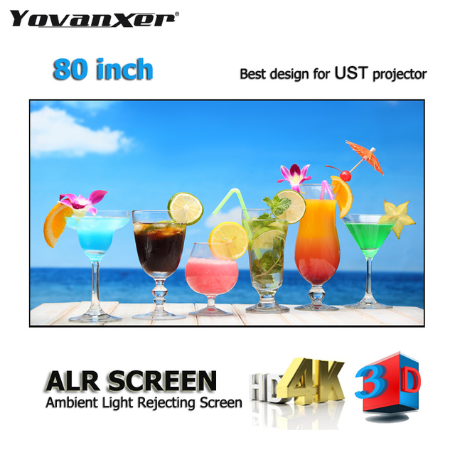 """ALR Ambient Light Rejecting Projection Screens 80"""" Ultra thin border Frame Specialize for Optoma Xiaomi UST projectors"""