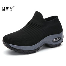 MWY דירות נעלי נשים מוגבר גרבי נעלי ספורט chaussures femmes נשים נעלי נוחות לנשימה חיצוני נעלי הליכה מזדמנים