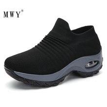MWY zapatos planos para mujer con calcetines aumentados, zapatillas de deporte, calzado para mujer, cómodos, transpirables, informales para caminar al aire libre
