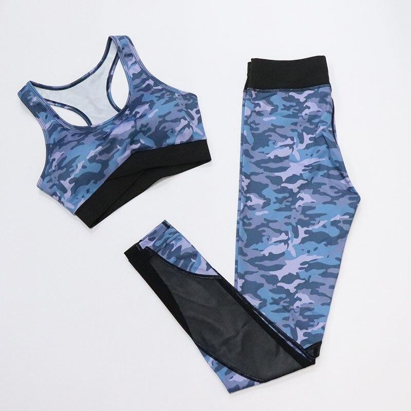 Комплект из 2 предметов, камуфляжный, камуфляжный, для йоги, спортивная одежда, дышащая, для спортзала, фитнеса, одежда для занятий йогой