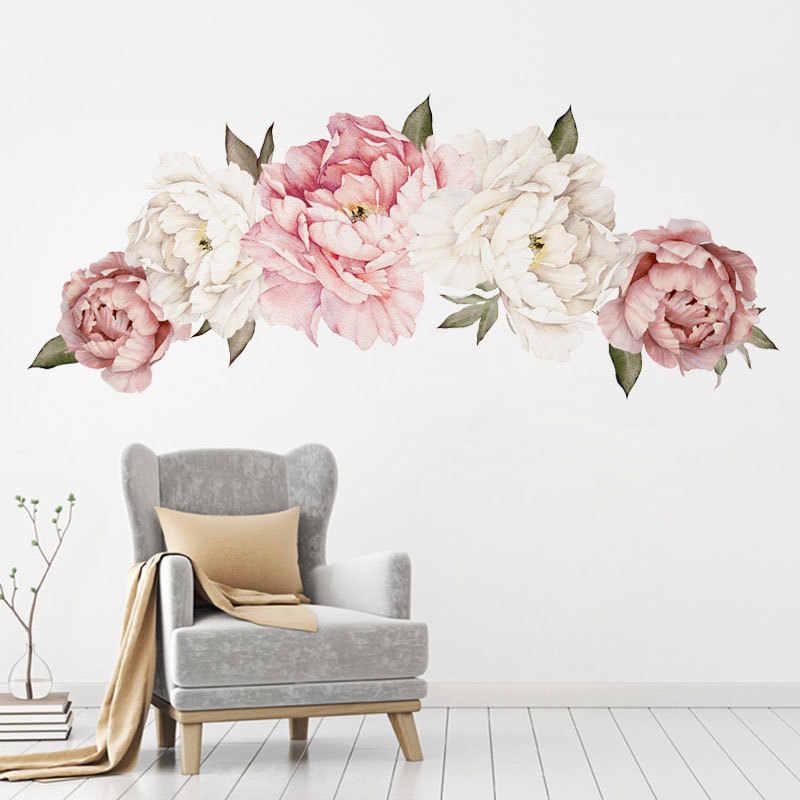 יפה ורוד אדמונית פרחי קיר מדבקות לילדים חדר סלון חדר שינה עיצוב הבית קיר מדבקות בית תפאורה תינוק משתלת