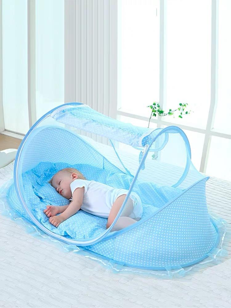 Newborn Baby Mosquito Net Cover Foldable Yurt With Bottom Portable Anti-mosquito Cover Double-layer Encrypted Net Yarn