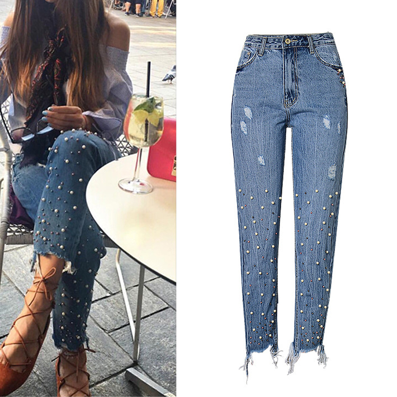 Women Jeans Trousers Denim Pants Ripped Blue High-Waist New Hem Pearl Pencil Beading