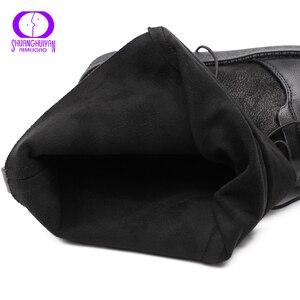 Image 4 - Aimeigao 블랙 레이스 업 따뜻한 발목 부츠 겨울 신발 여성 플랫폼 플랫 미끄럼 방지 스웨이드 부츠 여성 방수 가죽 부츠