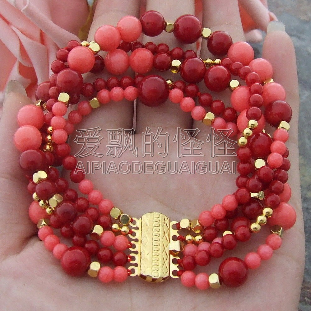 B070108 5 Rows 8'' Round Red Coral Bracelet