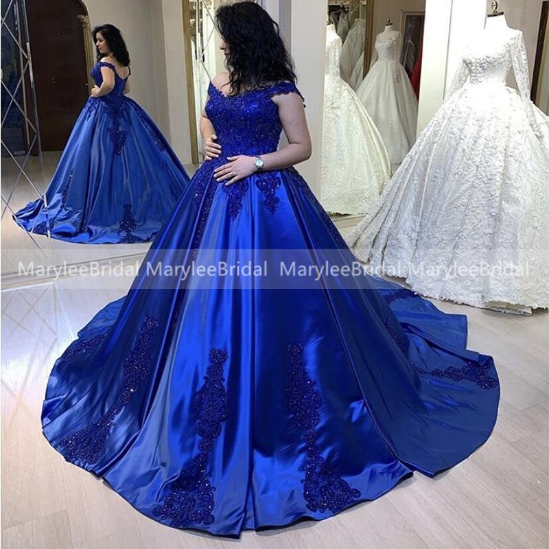 Luxury Royal Blue Wedding Dress Off The Shoulder Beaded Appliques Princess Turkey Bridal Dresses Cathedral Train Robe De Mariee