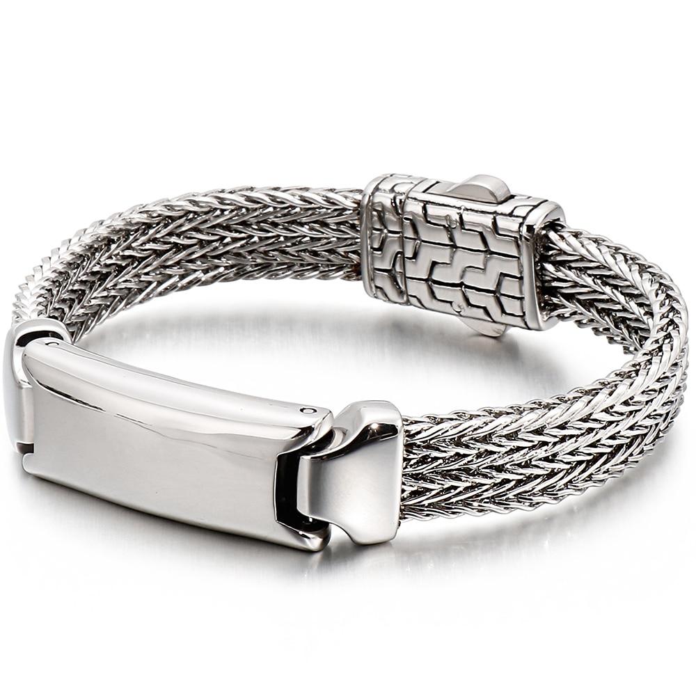Image 5 - 22CM Long Friendship Bracelets Vintage Resin ID Bracelet For Men Quality 316L Stainless Steel 10MM Wide Chain Jewelry Drop ShipID Bracelets   -