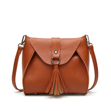 Women's Cover Messager Hand Bag Pu Leather Tassel Casual Fashion Shoulder Crossbody Ladies Bags metal tassel detail pu leather crossbody bag