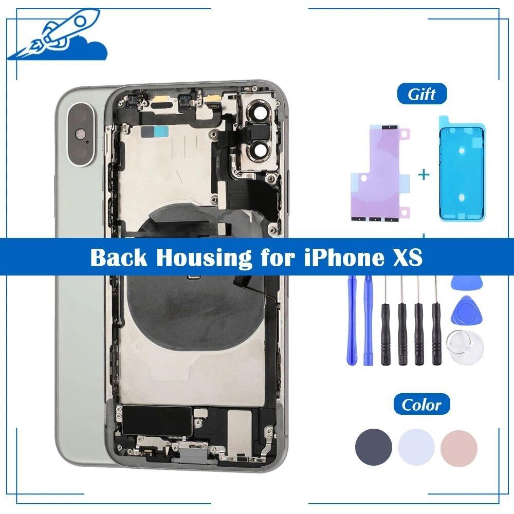 OEM задняя крышка корпуса для iPhone XS крышка батареи средняя рамка Шасси с сим-лотком боковые ключевые части гибкий кабель полная сборка