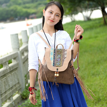 New Lady's Bag Backpack Ethnic Style Embroidered PU Women's Shoulder Summer Bag Chinese Style Bag Of  Women's Crossbody Hanging ethnic style women s crossbody bag with hollow out and color matching design