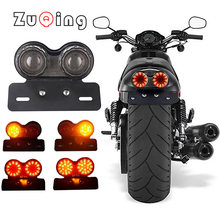 12V Universal Motorcycle Signal Lights Twin Dual Motorbike Taillight Rear Lamp Twin Light License Plat LED Integrated Tail Light