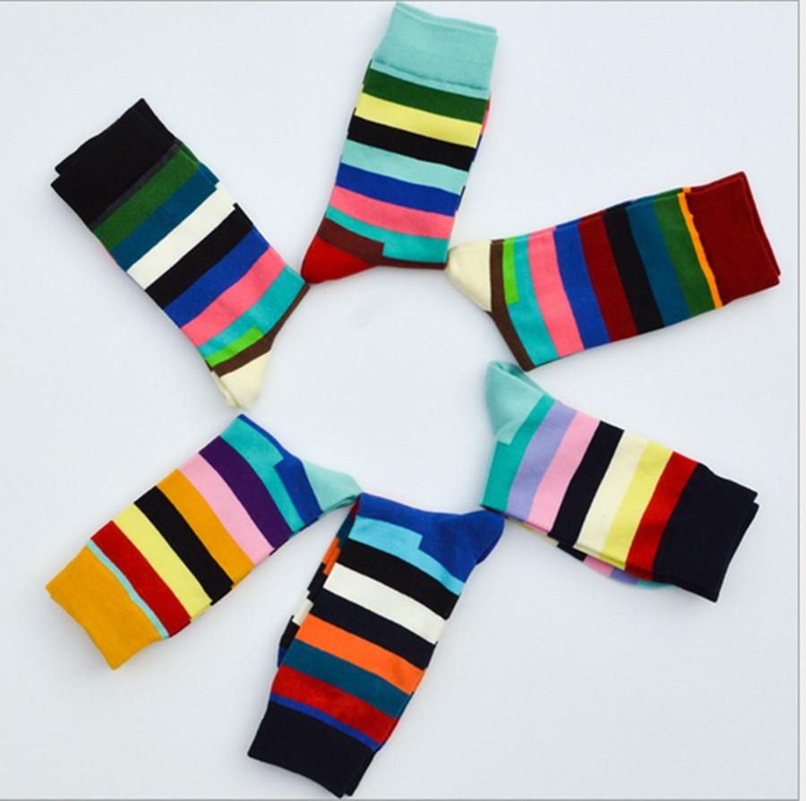 Rainbow Stripe Plaid Men's And Women's Cotton Socks Color Splicing Pattern Retro Personality Trend Tube Socks