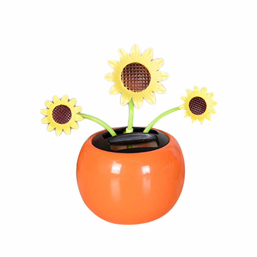 Solar Powered Dancing Flower Swinging Animated Dancer Toy Car Decoration Auto Home Interior Decoration 7*11.5cm #YL1