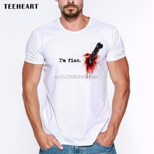 2019 Nieuwe Zomer Casual Mannen T-shirt Im fine Wond Bloed Mes Pijn Pijn Stabe Letsel Grappige Grap Mannen T-shirt tee(China)