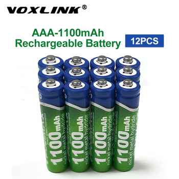 VOXLINK AAA Battery 1100mAh1.2V 12PCS rechargeable battery pre-charged recharge ni mh rechargeable battery For camera microphone voxlink aaa battery 1 2v 1100mah 8pcs rechargeable battery pre charged recharge ni mh rechargeable battery for camera microphone