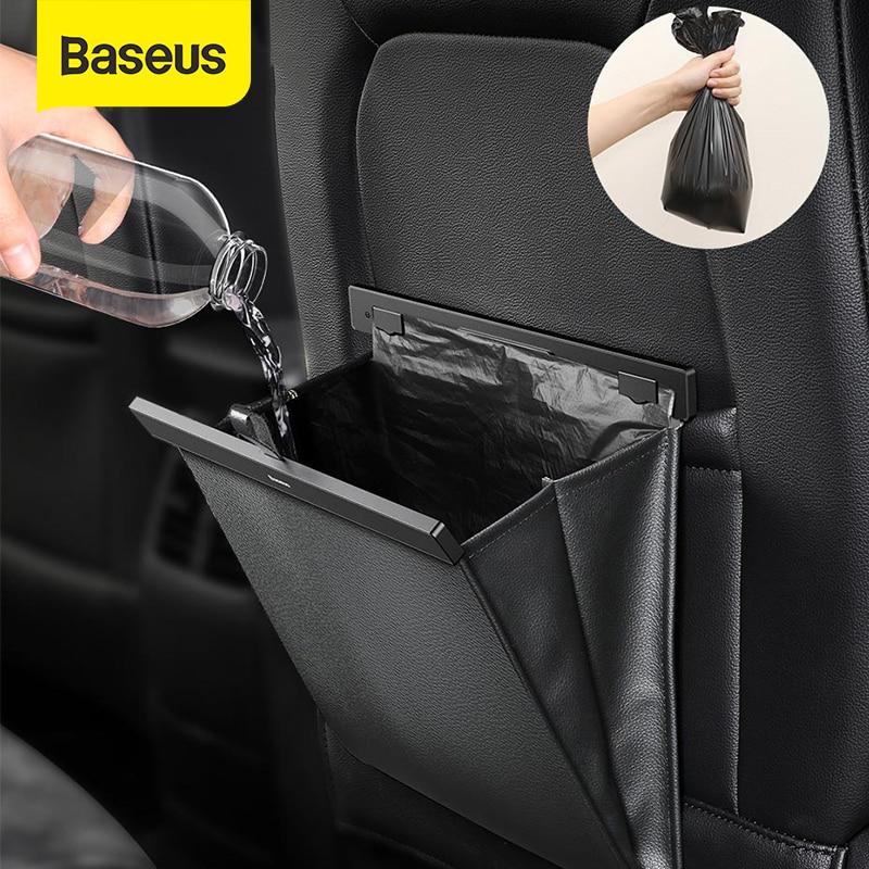 Baseus-organizador para maletero de coche, bolsa de almacenamiento para asiento trasero de cuero PU, caja de almacenamiento de carga Universal para equipaje de coche, bolsillo de viaje