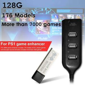 Image 1 - 176 מודלים 128G 7000 משחקי משחק מורחב כפול לשחק נייד בית קלאסי עם רכזת משחק ילדי כפול לשחק עבור PS1 מיני