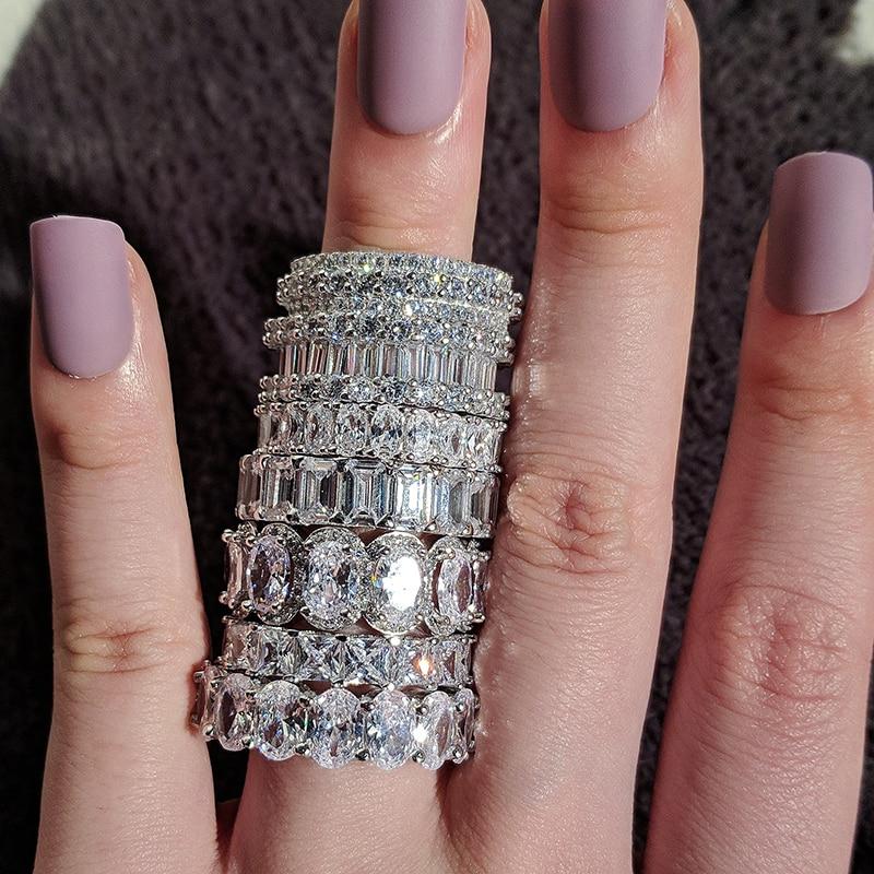 Luxo 925 prata esterlina casamento banda eternidade anel para as mulheres grande presente para senhoras amor por atacado lotes granel jóias r4577