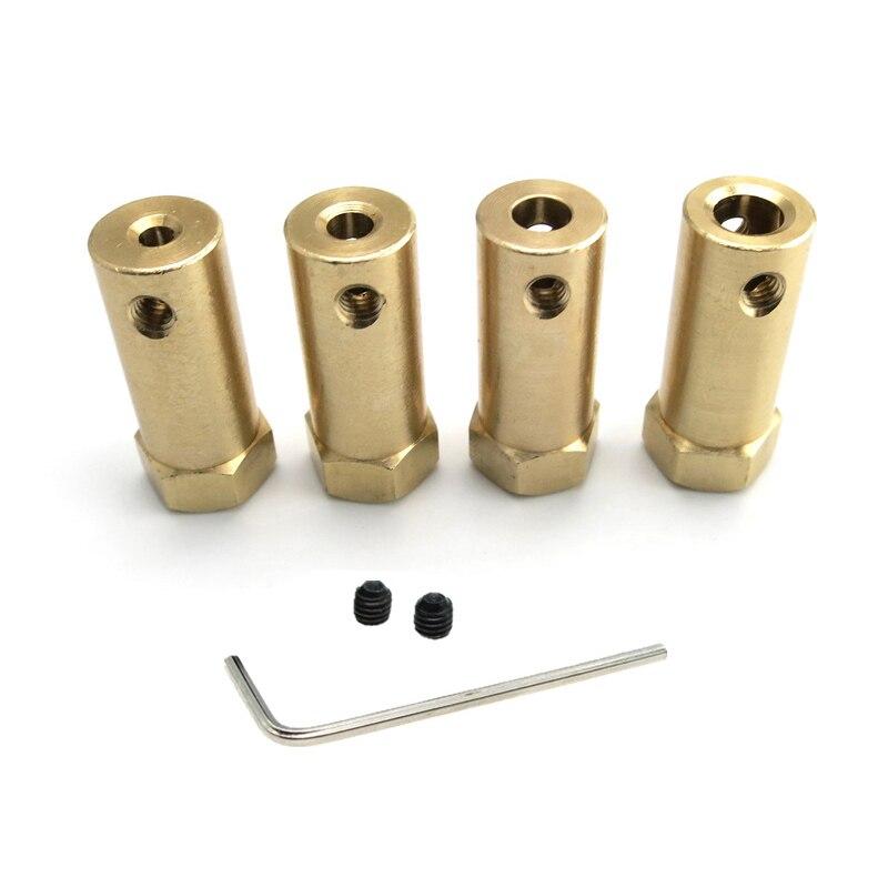 Motor de acoplamiento hexagonal rígido de cobre extendido, funda de conector de eje para coche inteligente Robot, 3/4/5/6/7/8mm