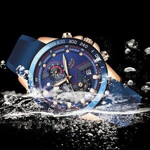 Image 3 - Relogio Masculino 2019 موضة جديدة الأزرق كوارتز ساعة ذهبية رجالي ساعات العلامة التجارية الفاخرة على مدار الساعة الذكور الرياضة مقاوم للماء كرونوغراف