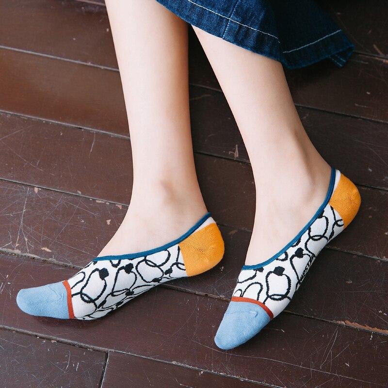 3 Pairs/Set Gothic Women Socks 100 Cotton No Show Boat Socks Women Floral Streetwear Size 35-39  Dropship Suppliers