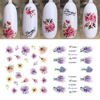 Nail Stickers Water Transfer Multiple Styles Fancy Flower Patterns Self-adhesive Stickers image