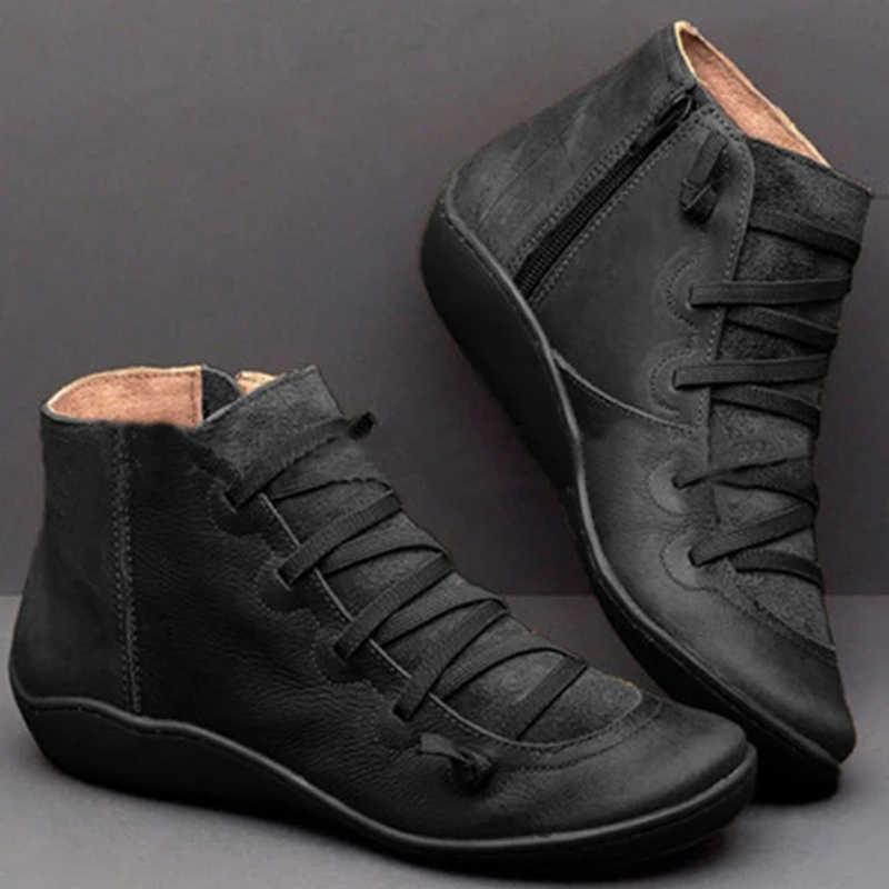 Dropship Laarzen 2019 Herfst Winter Retro Punk Vrouwen Laarzen Mode Echt Leer Enkellaars Zapatos De Mujer Wram Botas Mujer