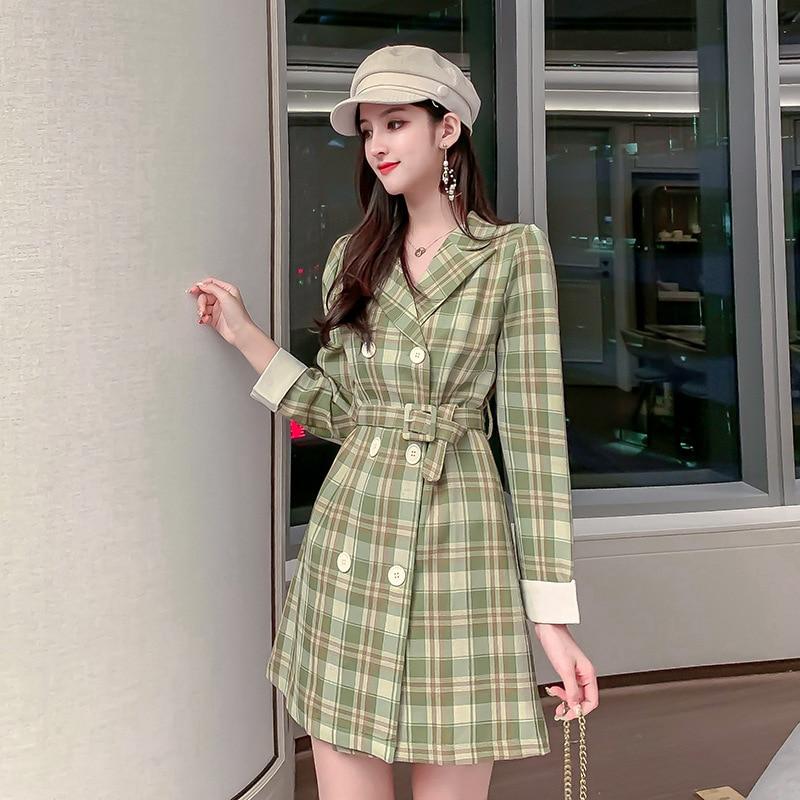 2019 Autumn And Winter New Style French Stem Orange Long-sleeved Dress Suit Skirt Waist Hugging Slimming Commuting Elegant