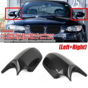 1Pair Carbon Fiber Car Side Rearview Wing Mirror Cap Cover Replacement M3 Style For BMW E90 E91 E92 E93 Facelifted Accessories image