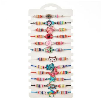 12pcs Animals Flower Lucky Charms Braided Bracelet Women Girl Crystal Bead Adjustable Rope Chain Jewelry crystal bead and crown bracelet safety chain luxury strand bracelet