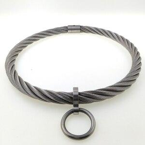 Image 5 - ACECHANNEL สแตนเลส wirerope เหล็กล็อค torkue Slave COLLAR Choker ผู้ชายสร้อยคอผู้หญิง bondage restraints ชุด Choker