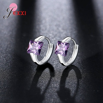 S925 Sterling Silver Boutique Jewelry Mujer Bijoux Red Pink Purple Blue Clear Crystal Cubic Zirconia Hoop.jpg 350x350 - S925 Sterling Silver Boutique Jewelry Mujer Bijoux Red Pink Purple Blue Clear Crystal Cubic Zirconia Hoop Earring Pendientes