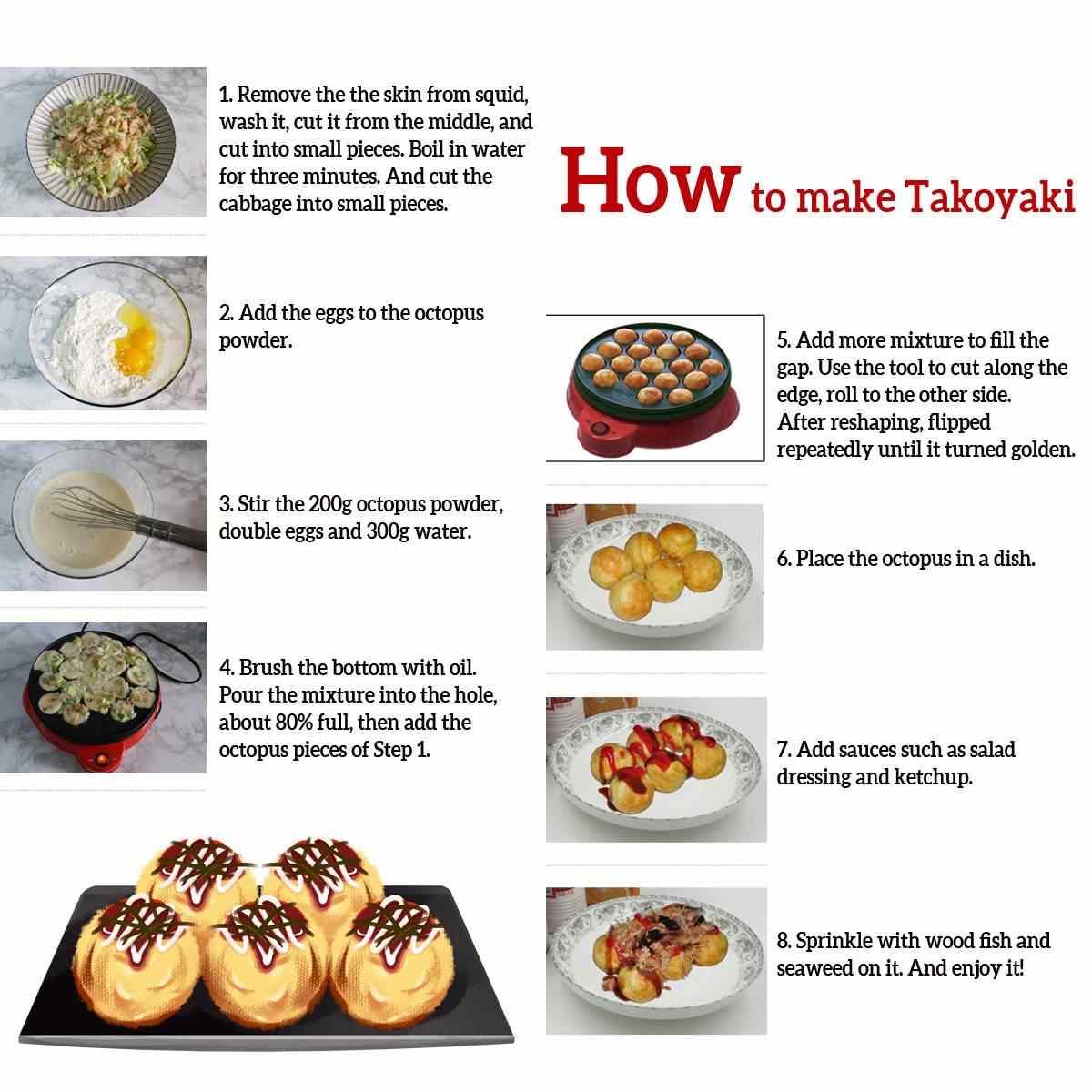 Professionnel 18 trous Takoyaki gril casserole électrique bricolage maison pieuvre viande boule fabricant plaque ensemble Machine de cuisson ménage