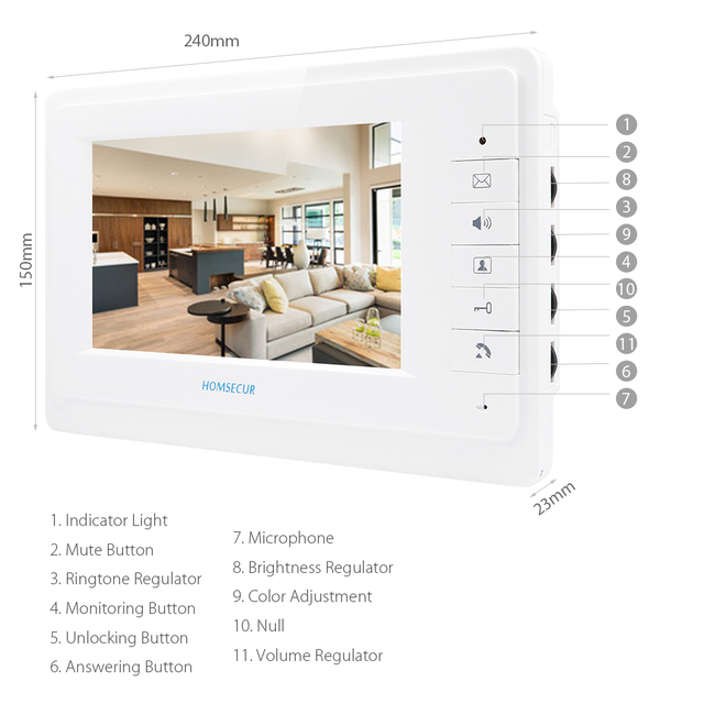 HOMSECUR 4-Wire 7inch Video Door Intercom Apartment System with 2 Monitors 1 Outdoor Camera 20pcs RFID Keyfob Included