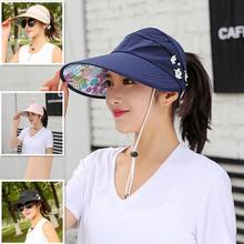 Hat Summer Women Caps Beach-Hat Visors Fisher Uv-Protection-Cap Foldable Black Casual