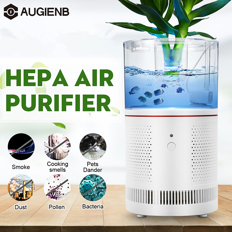 AUGIENB Air Purifier For Home True HEPA Filters Desktop Purifiers Filtration with LED Night Light Air Cleaner with Fish tank
