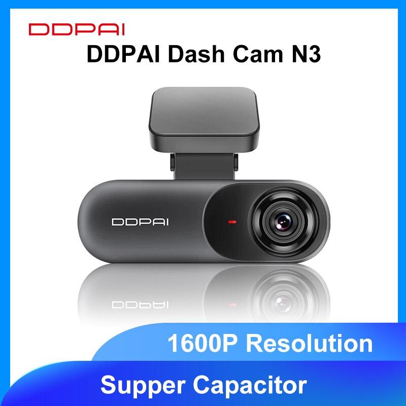 Ddpai traço cam mola n3 1600p hd gps gravador de câmera do carro unidade veículo vídeo automático dvr 2k android wifi inteligente conectar 24h estacionamento