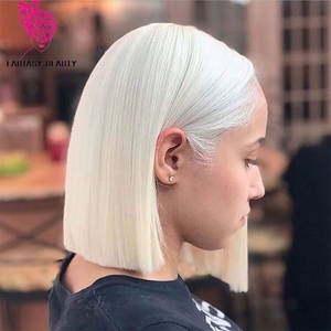 Wig Short Blonde Fantasy Lace-Front White Synthetic Glueless Bob for All-Women Hand-Tied