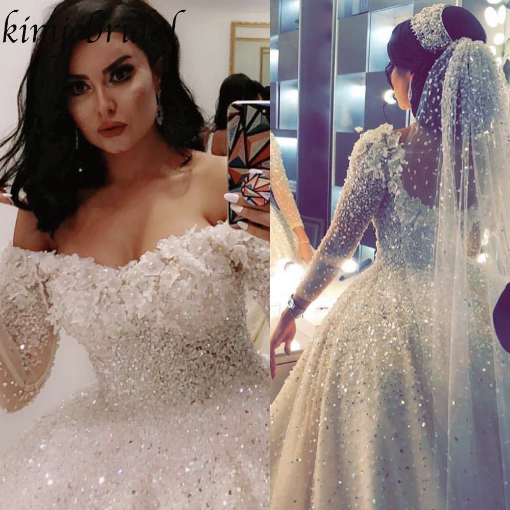 Wedding Dresses 2019 Ball Gown Off The Shoulder Long Sleeve Transparent Sleeve Hand Made Flowers Crystal Beaded Bridal Dresses