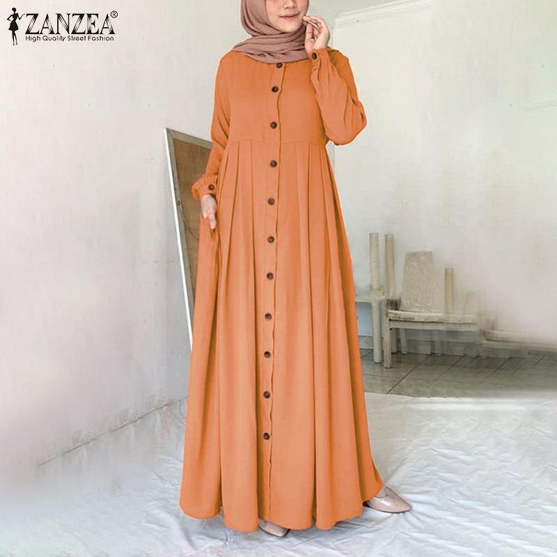 Women Muslim Dubai Abaya Turkey Hijab Dress ZANZEA Autumn Long Sleeve Buttons Down Sundress Islam Clothing Abayas Maxi Vestidos Women Women's Clothings Women's Dresses cb5feb1b7314637725a2e7: Navy|Orange|black